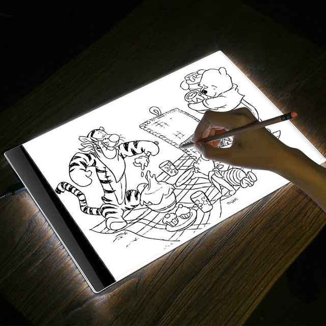 US $14 99 30% OFF|K1 LED Light Writing Board Drawing Table USB Pad A4 Copy  Board Copying Sketch Tracing Display Black for Painting Drawer Student-in