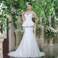 Liebhaber Kuss Vestido De Noiva Elegante Damen Spitze Brautkleider Mit Zug Funkelnde Perlen Neck Braut Kleid robe sirene mariage