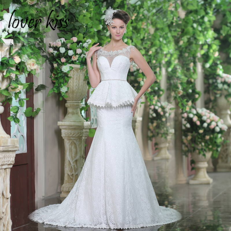 d48beeee556 Lover Kiss Vestido De Noiva Ladies Lace Trumpt Vintage Wedding Dresses  Sparkle Jeweled Empire 2018 Wedding Gown For Sale Online