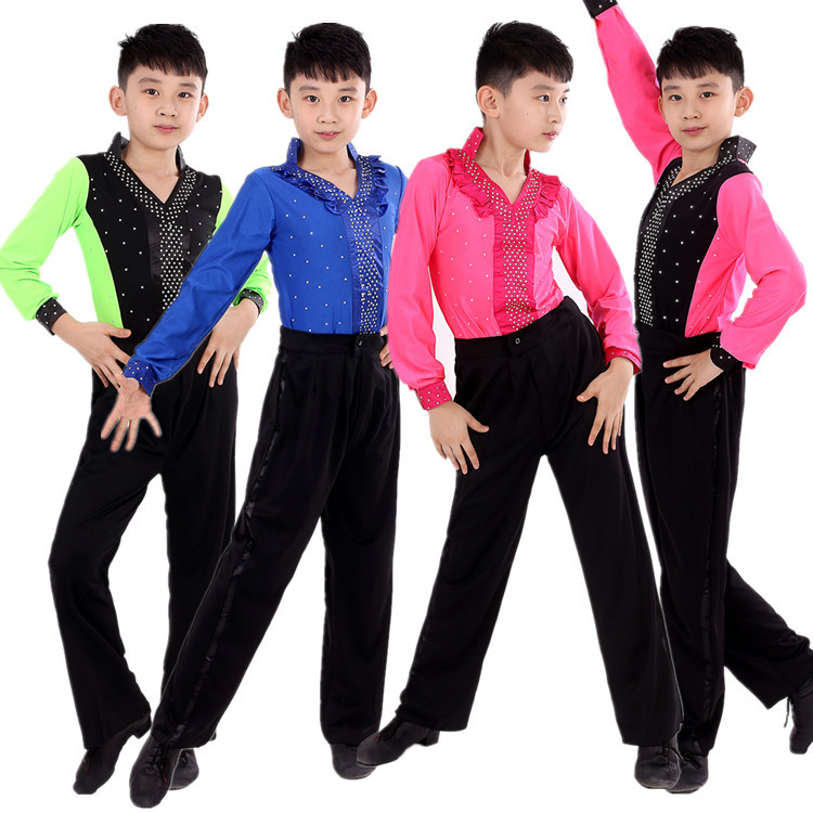 Hot sale boy latin dancewear ruffly blue green red for Pantalones asiaticos