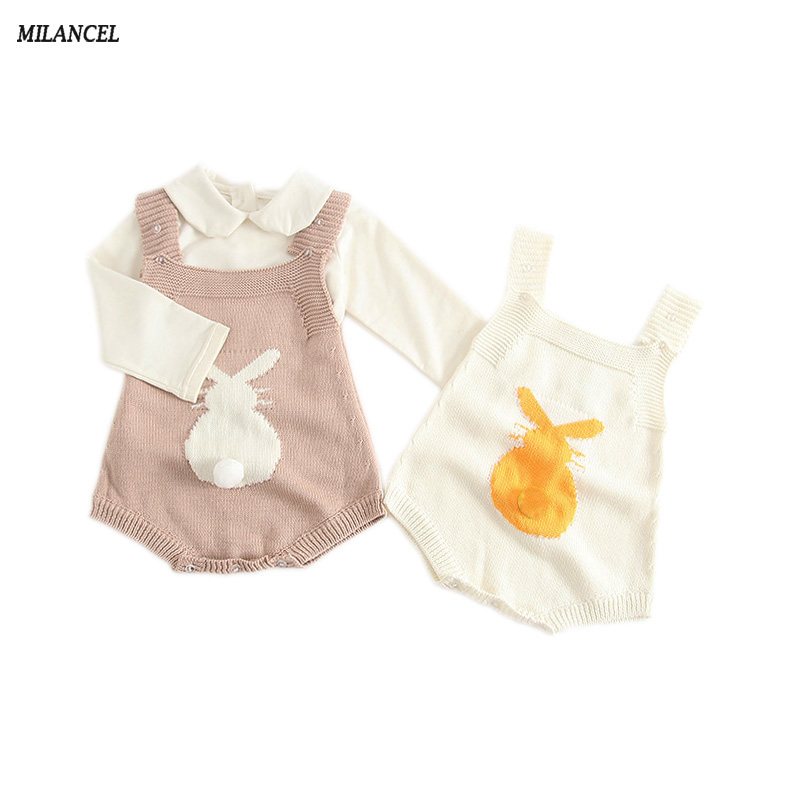 MILANCEL 2018 Spring Baby Rabbit Rompers Bayi Pakaian Sweet Knitted Pakaian Bunny Baby Jumpsuit Toddler Baby Girls Boys Clothing