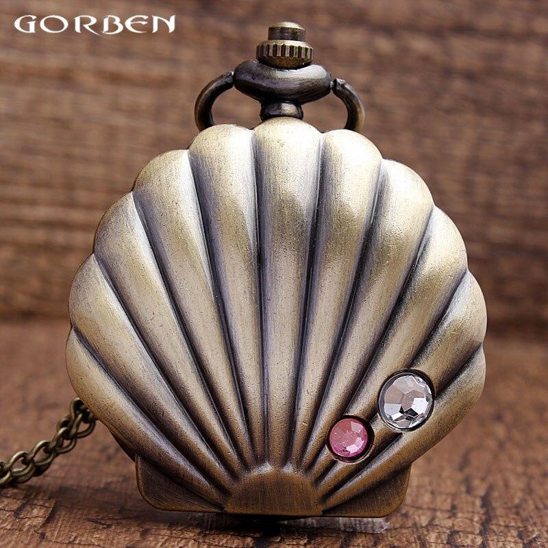 Nieuwe collectie brons mooie schelpen ketting hanger quartz - Zakhorloge