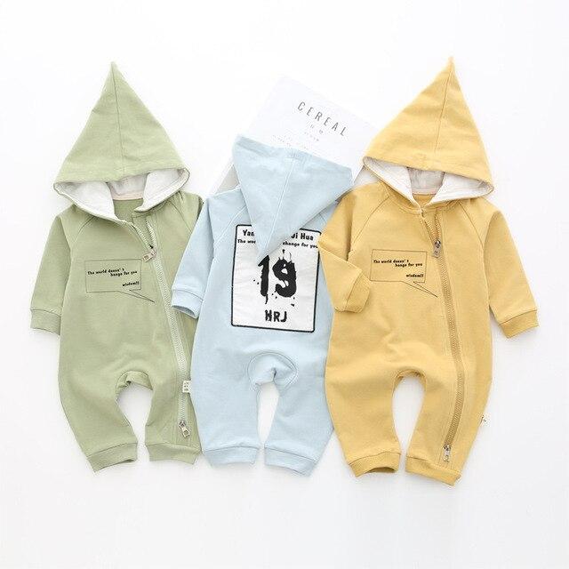 17 kids fall cotton baby boy girl romper zipper hoodies ins pp romper fashion hooded boy