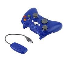 Голубой цвет 2.4 г беспроводной геймпад игровой пульт дистанционного управления Джойстик с ПК Reciever для Microsoft для Xbox 360 консоли