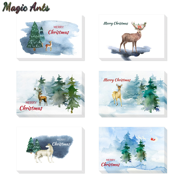 notes watercolour christmas thank you card with envelope stickers new year winter holidays custom blank inside