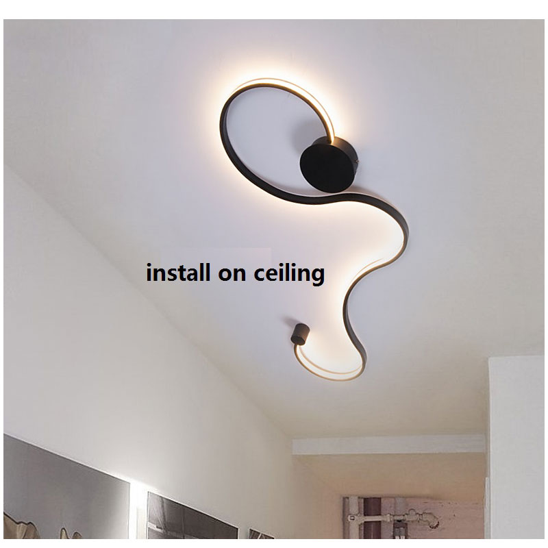 Simple Modern LED Ceiling Light Black&White Body  Lustres Led Ceiling Lamp Living Room Bedroom Beside room Luminaire AC110V 220V