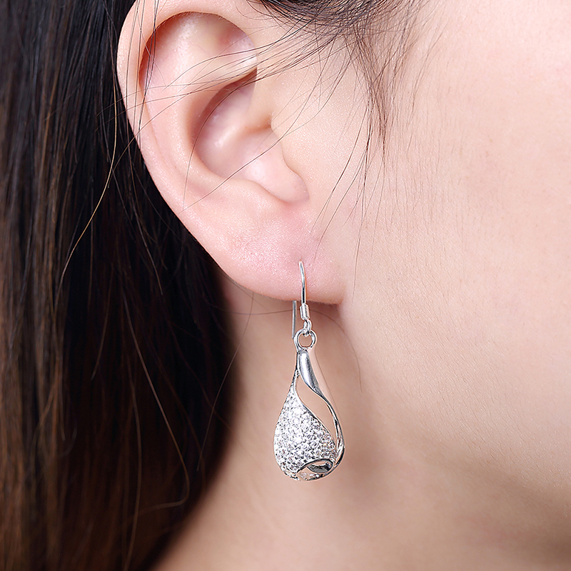 Drop Earrings Fashion Women Botte Crystal Hollow Silver Earrings