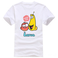 2016 Funny cartoon animation larva t shirt men summer short sleeve Stinky insects tops Fashion Cotton tees men's N900