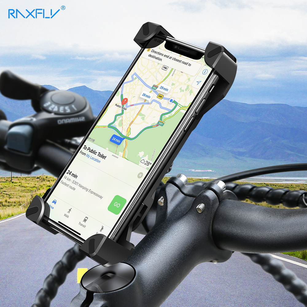 RAXFLY Bicycle Motorcycle Phone Holder For IPhone Samsung Xiaomi Non-slip 360 Rotation Adjustable Mount Support For 4-7 Inch