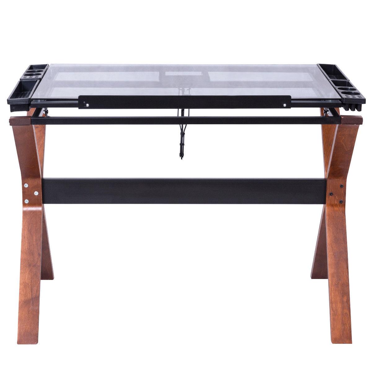 Giantex Adjustable Drafting Table Craft Station Modern Drawing Desk Glass  Top Art U0026 Craft Hobby Furniture HW56042 In Laptop Desks From Furniture On  ...