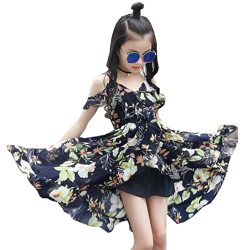 36b0df540ecd Teens Kids Girls Summer Strap Sleeveless Bohemia Style Floral Dresses  Chiffon Beach Dress Clothes For 6 8 9 10 11 12 13 14 Years