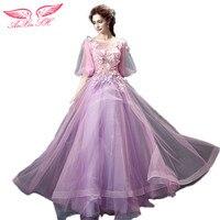 AnXin SH bruid bloem kant paars avondjurk paars rose illusion avondjurk diner voeren prinses avondjurk 1911