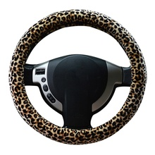 Winter Soft Short Fur Car Steering Wheel Cover High-density Warm Plush Steering Wheel Protector Cover 38cm