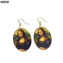 Vintage Oil Painting Drop Earrings Mona Lisa Girl With A Pearl Earring Painting Women Wooden Oval Statement Big Dangle Earrings(China)