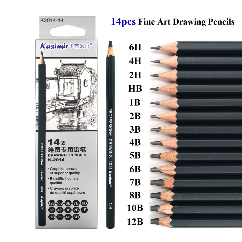 Best quality 14pcs set 12b 10b 8b 7b 6b 5b 4b 3b 2b b hb 2h 4h 6h graphite sketching pencils professional pencil set for drawing