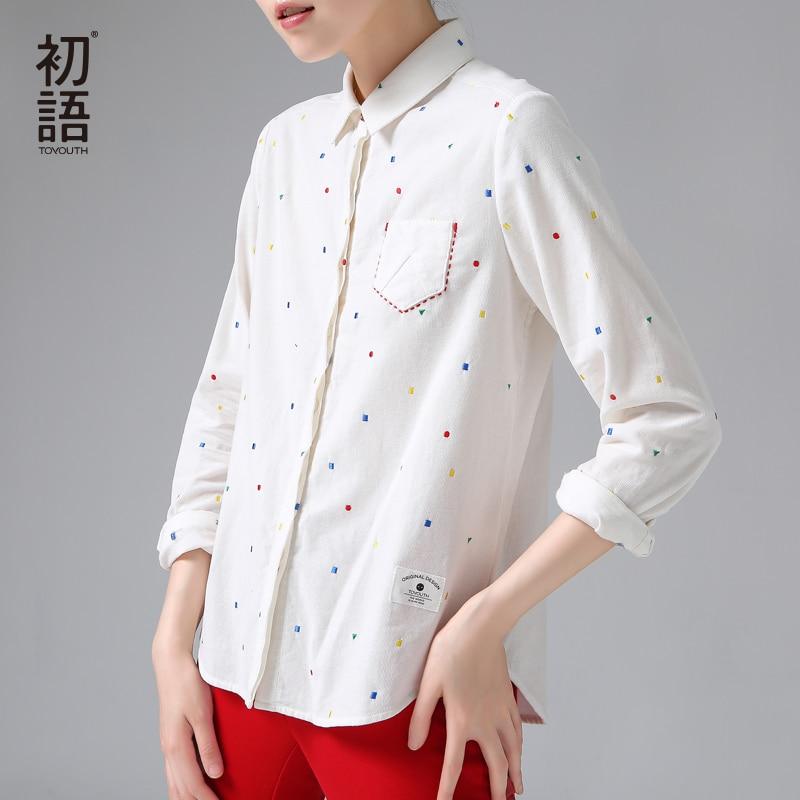 Toyouth polka dot shirt women autumn embroidery pattern