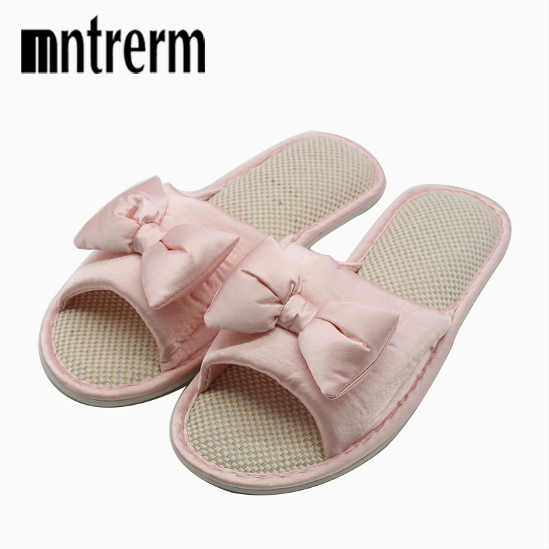 Mntrerm Candy Colors Home Slippers Women Bedroom Slippers For Summer Cartoon Bowtie Indoor Flat Slippers Floor Home Flax Shoes vanled 2017 new fashion spring summer autumn 5 colors home plush slippers women indoor floor flat shoes free shipping