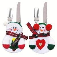 6 قطع ديكور عيد الميلاد مطبخ المائدة حامل الجيب حقيبة عشاء ملاعق ملاعق مجموعات حزب الجدول الديكور عيد