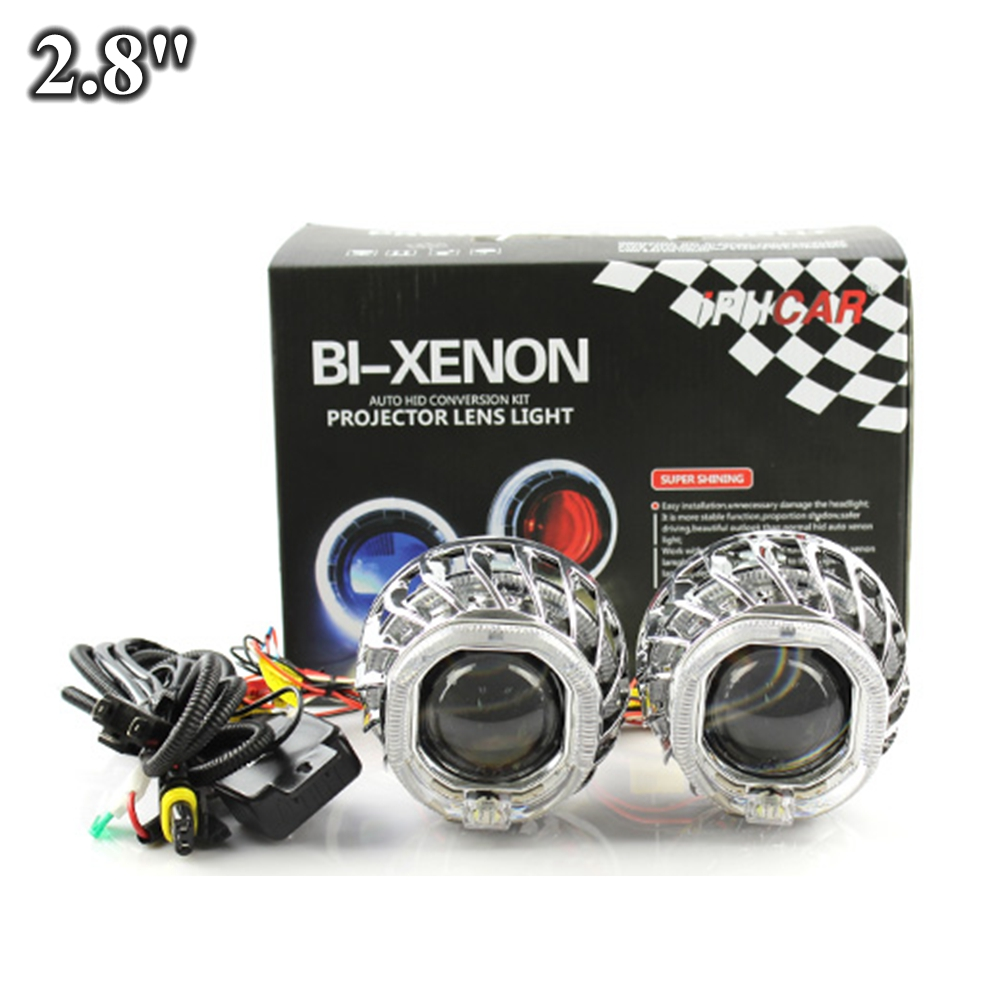 hid bixenon car projector lens 2.8 suqare dual day running led angel eyes hid xenon bulb relay harness h1 h4 h7 white blue наушники shure srh145