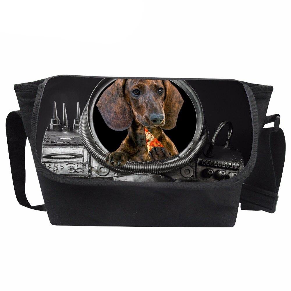 Customized Men Messenger Bag 3D Pizza Animals Prints Crossbody Bag Teenagers Dog Pattern Shoulder Bags Males Travel Bag