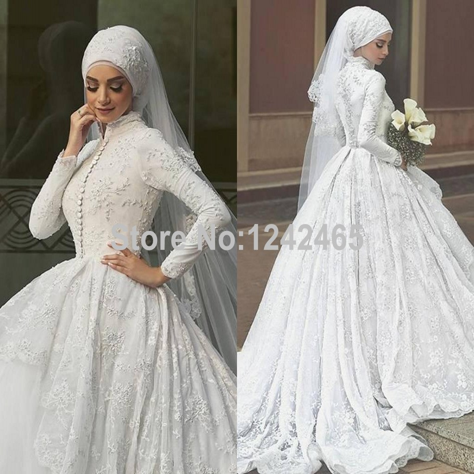 Puffy Ball Gown High Neck Robe De Mariage Hijab 2016 Long Sleeve Arabic  Muslim Lace Wedding Dresses Custom Made MC179,in Wedding Dresses from  Weddings