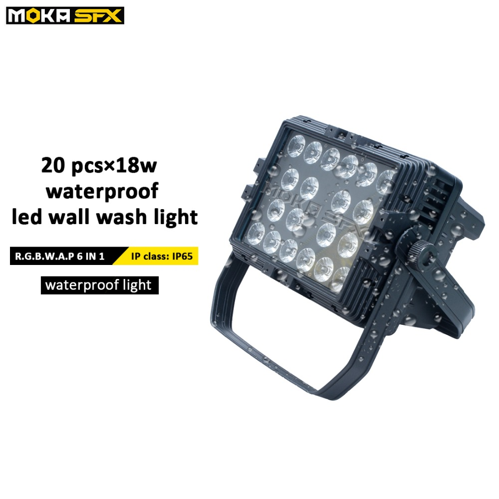 Factor Directly Sales 20*18W LED Waterproof wash light RGBW UV 6 in1 Wall Washer light DMX Stage wash lighting