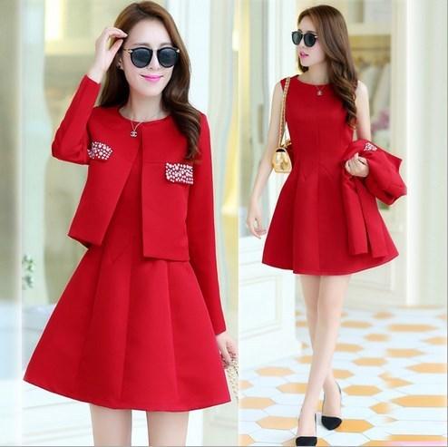 (Jaqueta + Vestido) senhoras Vestido de Terno Com Paletó 2016 Mulheres Jaqueta Moda Terno Blazer Plus Size Formal Vestidos de Uniformes de Escritório