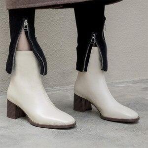 Image 4 - FEDONAS 2021 קידום מכירות חורף סתיו נשים מגפי פלטפורמות כיכר העקב קרסול מגפי עור פרה אופנוע גברת גבירותיי נעליים