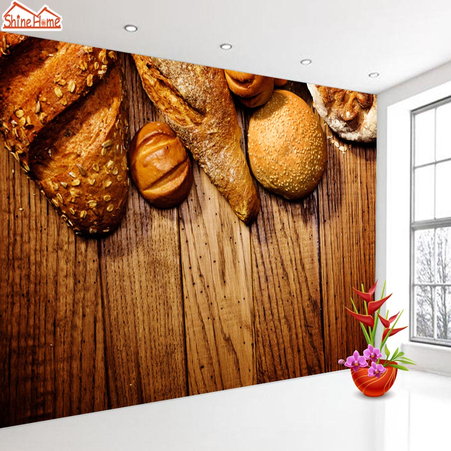 ShineHome-Bake Bakery Food Bread Wood 3d Wallpaper for Walls 3 d  Living Room Cafe Background Wallpapers Mural Roll Wall Paper non woven bubble butterfly wallpaper design modern pastoral flock 3d circle wall paper for living room background walls 10m roll