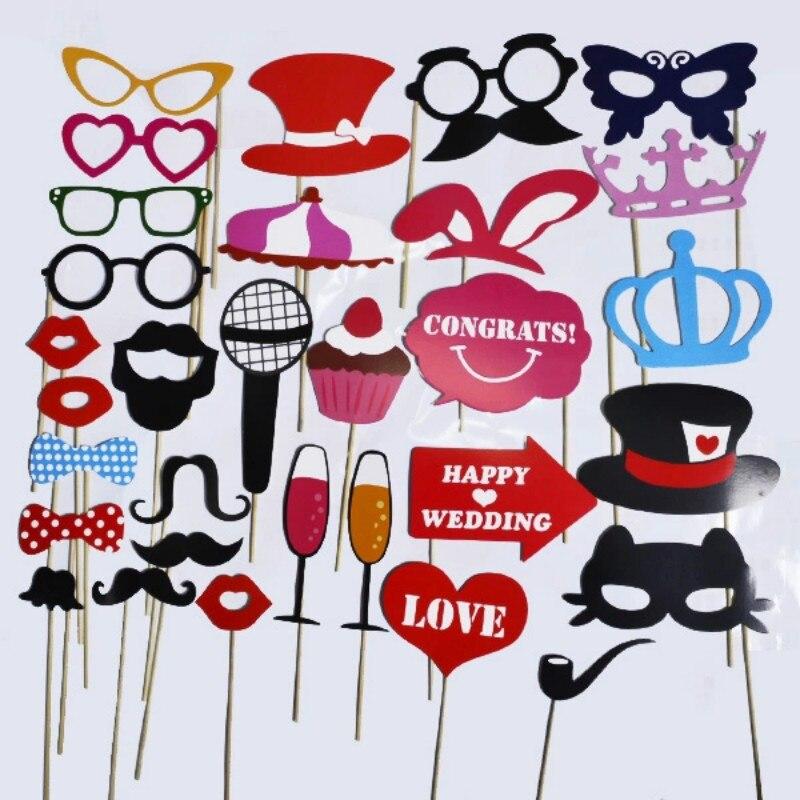 31pcs Cat Beard Mustache Hat Wedding Decoration Photo Booth Props