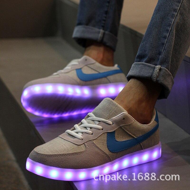 Llevó los zapatos para adultos zapatos de las mujeres zapatos luminosos led cali