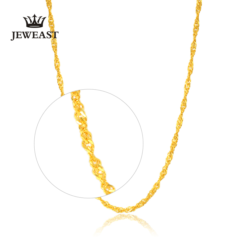 24K Pure Gold Necklace Real AU 999 Solid Gold Chain Nice Water Ripple Upscale Trendy Classic Good Fine Jewelry Hot Sell New 2018 24k gold ring flower female women mother wife lady girl 2017new hot sale fine jewelry trendy good nice top upscale real pure 999