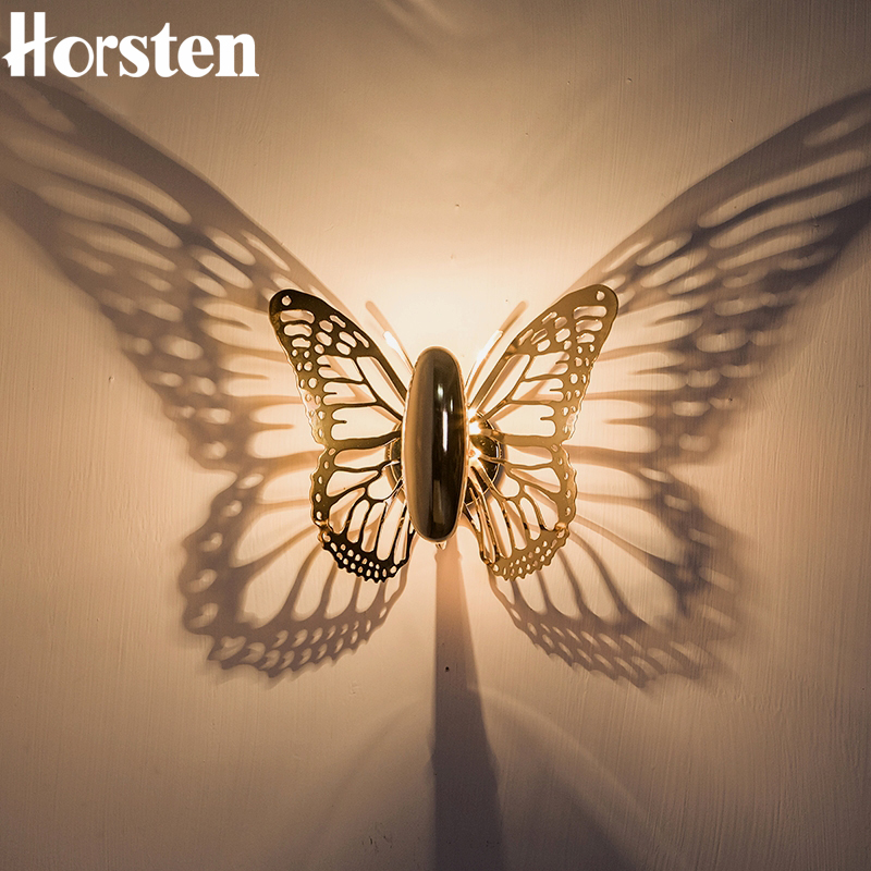 Horsten New Creative LED Wall Lamp Butterfly Lampshade Projection Shadow Wall Light Gold Butterfly Wall Sconce For Home Cafe shadow projection lamp creative 201 essential button type stainless steel led home furnishing decoration