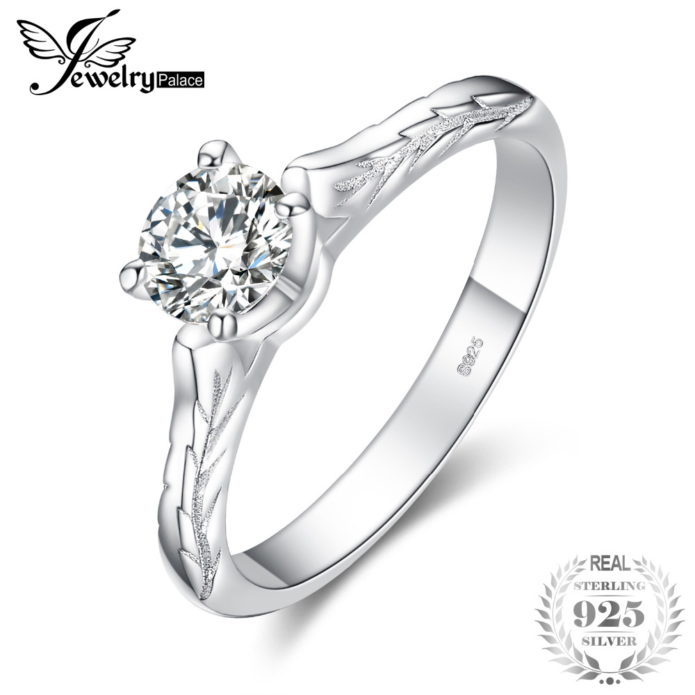 jewelrypalace vintage flower leaf shank cubic zirconia solitaire Leaf Leaf jewelrypalace vintage flower leaf shank cubic zirconia solitaire engagement ring 925 sterling silver beautiful 2018 new hot