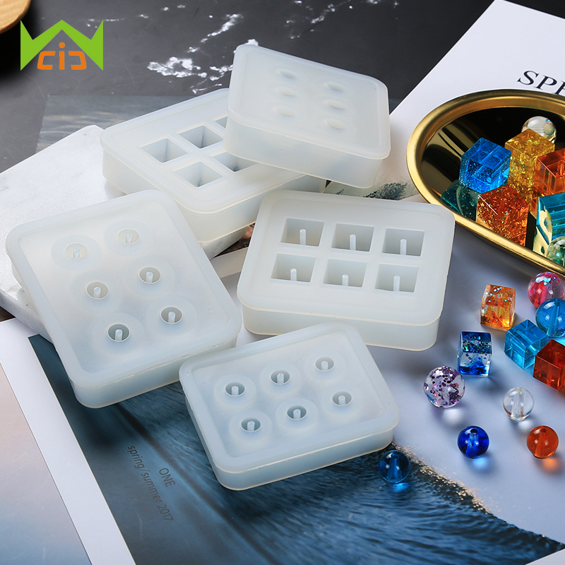 922c137efbf0 WCIC bola cuentas epoxi resina molde hecho a mano DIY cristal moldes  colgante de joyería fabricación de herramienta de resina de silicona molde