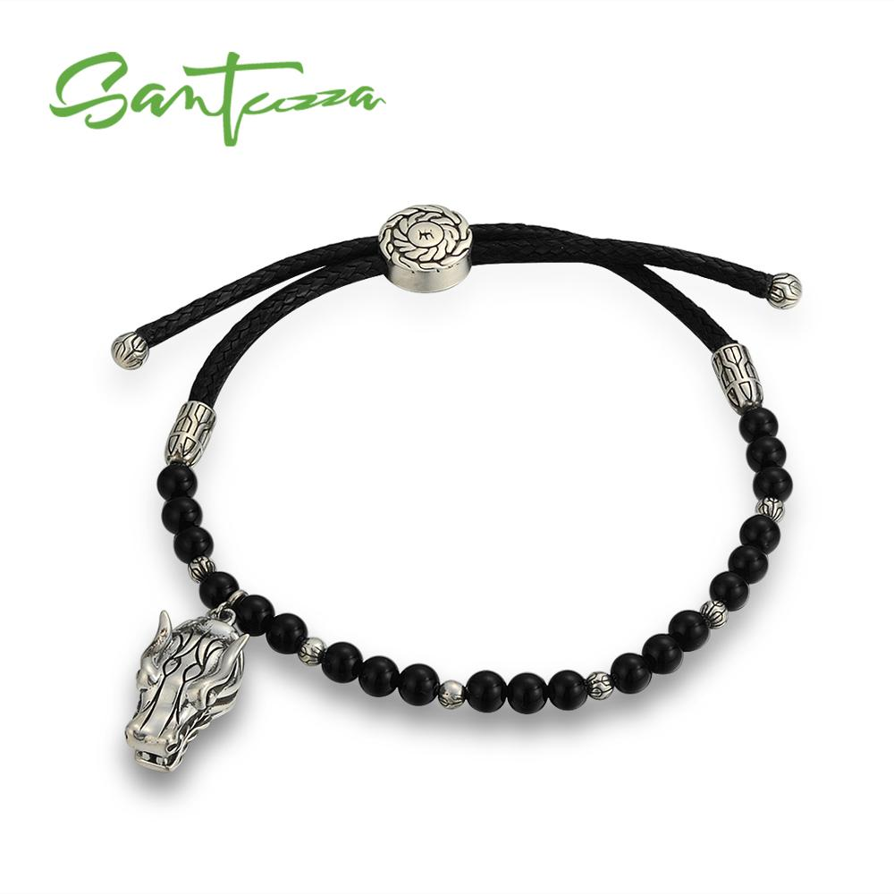 213d9ef5a5dc Brazalete de dragón para Mujeres Hombres 925 Plata de Ley  negro-creado-Agates correa de algodón pulsera ajustable joyería de moda