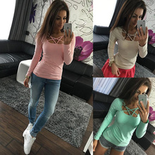 T-shirt 2017 spring ladies color fashion casual long-sleeved T-shirt cross collar collar color pure autumn shirt