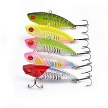 5pcs/set Fishing Lure Spoon Bait 6cm 11g Artificial Lures Spinner Lure Metal Bait Fishing Tackle  6# hook metal vib
