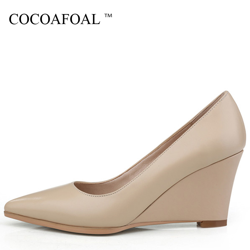 COCOAFOAL Woman Wedge Shoes Fashion Sexy Pointed Toe High Heels Shoes Plus Size 33 - 42 Genuine Leather Party Wedding Pumps 2018 bowknot pointed toe women pumps flock leather woman thin high heels wedding shoes 2017 new fashion shoes plus size 41 42