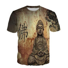 2366a57497ee2 Chinese Word Buddha Print T-Shirt Gothic Fitness Style Tee Tops Men Casual Plus  Size