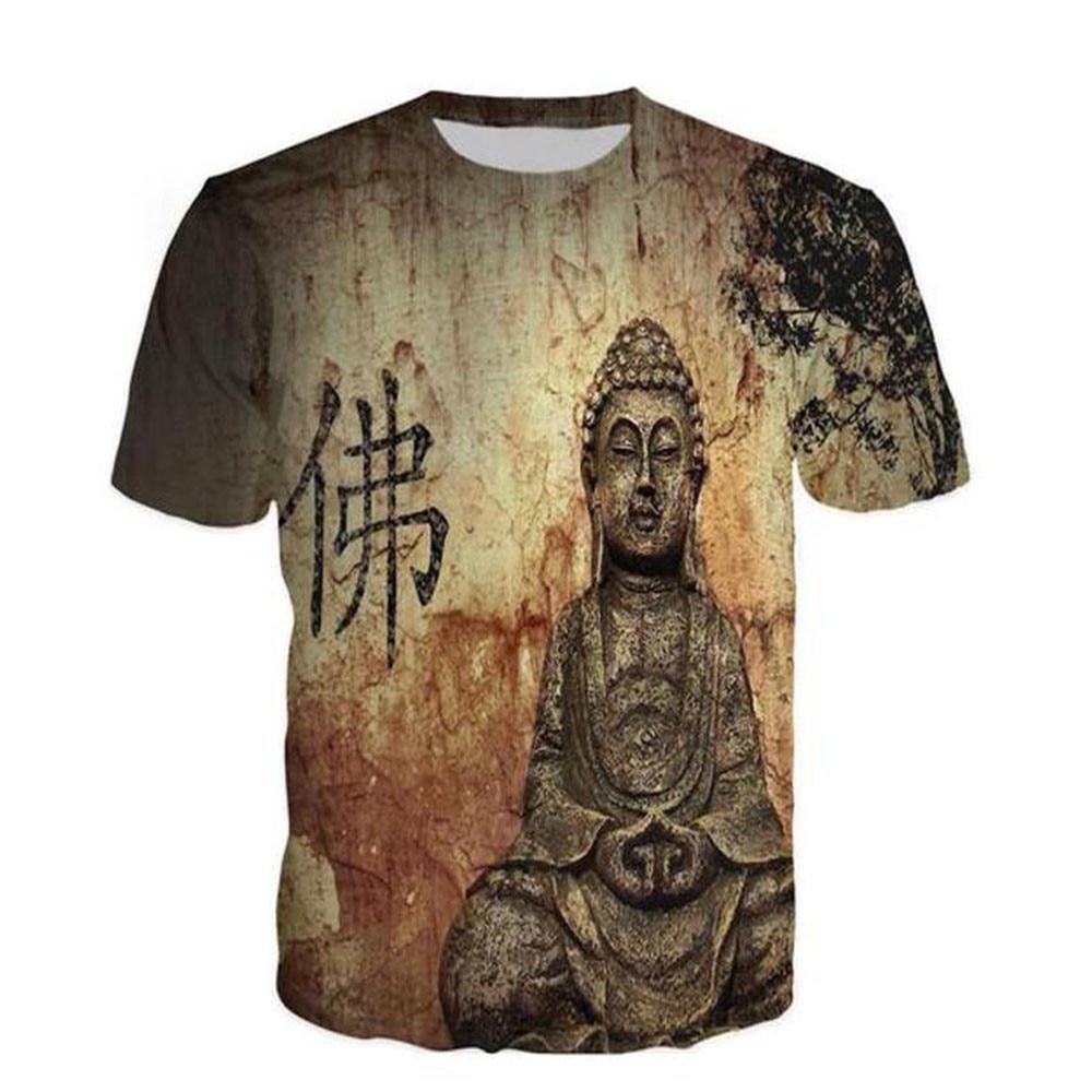 Chinese Word Buddha Print   T  -  Shirt   Gothic Fitness Style Tee Tops Men Casual Plus Size 7XL 6XL   t     shirts   Harajuku Mens Streetwear