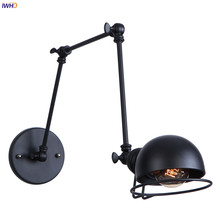 IWHD Black Long Arm Vintage Wall Lamp Beside Bedroom Stair Lighting Loft Industrial Decor Retro Wall Light Fixture Lampara Pared iwhd vintage glass lampara pared creativeretro iron loft wall lamp black bedroom lighting stairs beside reading light fixture