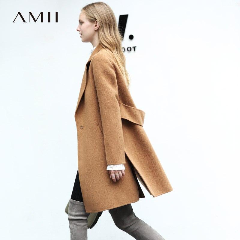 Amii Minimalist Women 2018 Winter Woolen Coat Vintage Chic 100 Wool Double sided Woolen New Open
