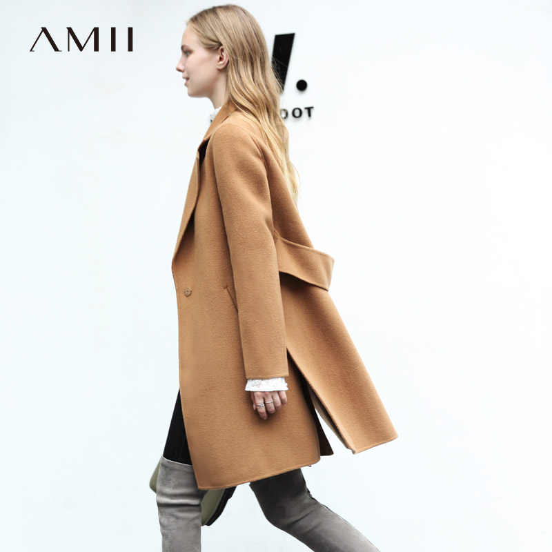 Amii Minimalist Women 2018 Winter Woolen Coat Vintage Chic 100% Wool Double-sided Woolen New Open-slit Loose Coats