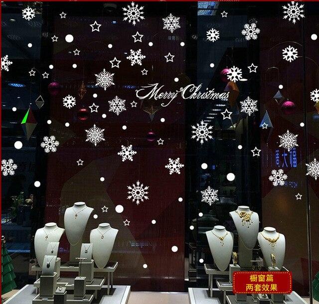 2016 горячей продажи Рождество снежинка окно украсить стены наклейки двери сообщения для торгового центра в Новый Год стикер a188