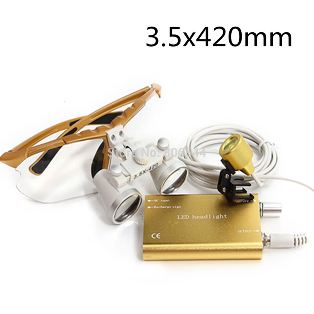 Aletler'ten Büyüteçler'de Diş ekipmanları Cerrahi Tıbbi diş Loupes diş gözlük 3.5X420mm + LED Başkanı Işık Lambası diş laboratuvarı Sarı altın 188032 title=