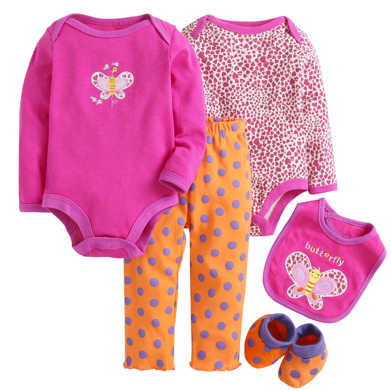 Baby Clothes Gril Sets 5pcs Red Butterfly Baby Bodysuit Cotton Toddler Jumpsuit Spring Baby Girl Newborn Bebe Overall MKBCCL022