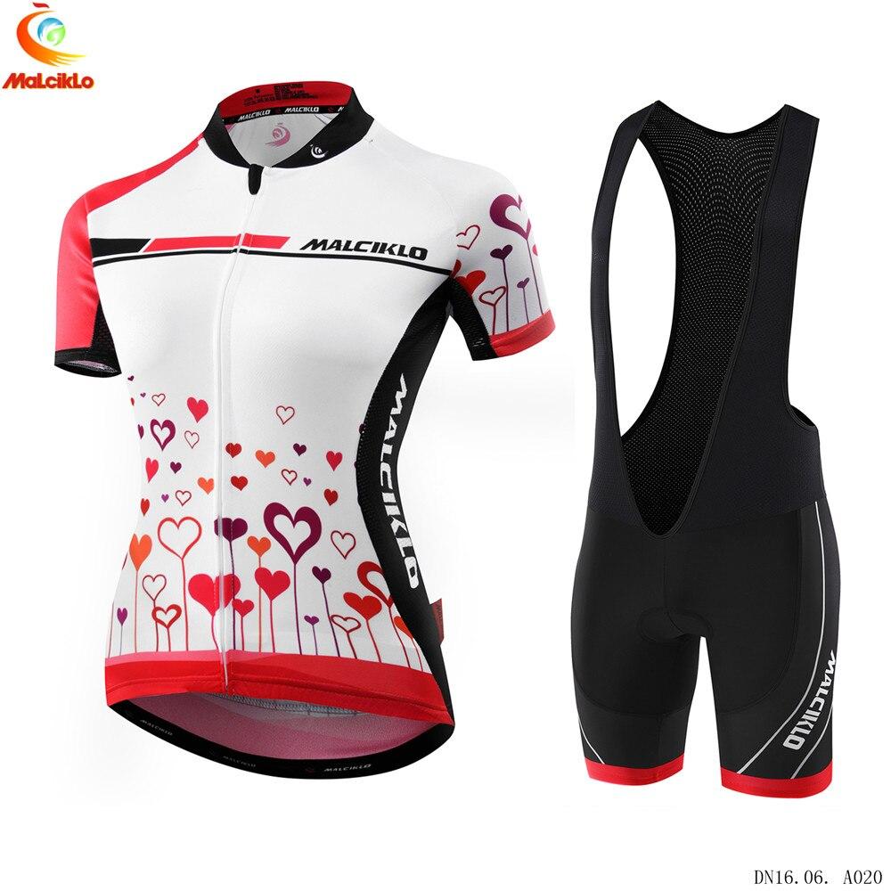 Prix pour 2017 Malciklo Haute Qualité Pro Tissu Femmes Cyclisme Vélo VTT Jersey Porter À Manches Courtes Set Ciclismo Roupa Vélo Vêtements M036