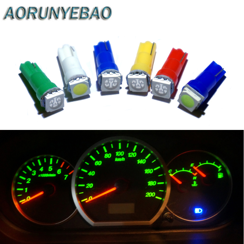 AORUNYEBAO 500pcs Car Interior white red LED T5 1 SMD 5050 led Dashboard Warning Indicator Wedge 1 LED Car Light Bulb Lamp 12V-in Signal Lamp from Automobiles & Motorcycles    2