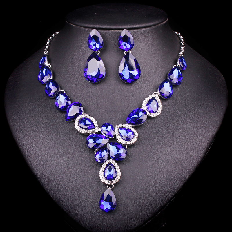 Luxury Silver Plated Blue Crystal Bridal Jewelry Sets For